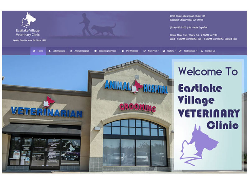 Eastlake Village Veterinary Clinic - Website Home Page