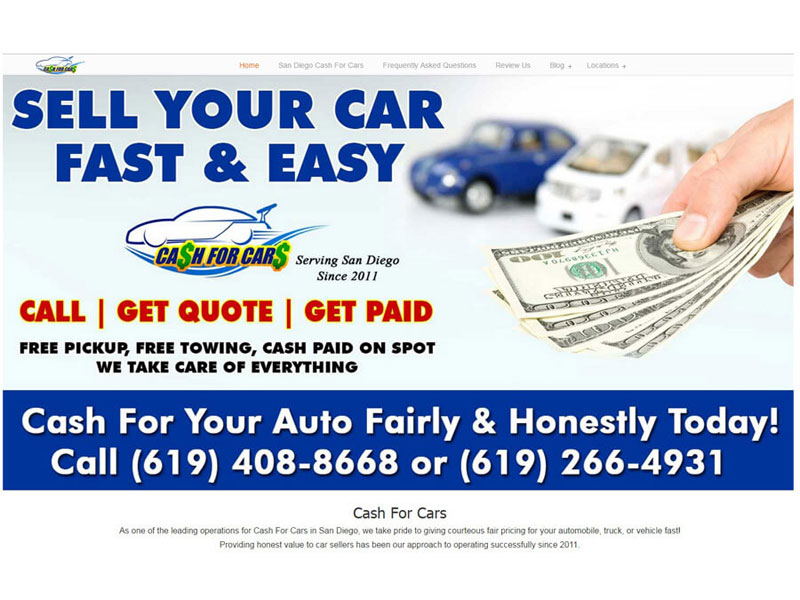 San Diego Cash For Cars - Website Design