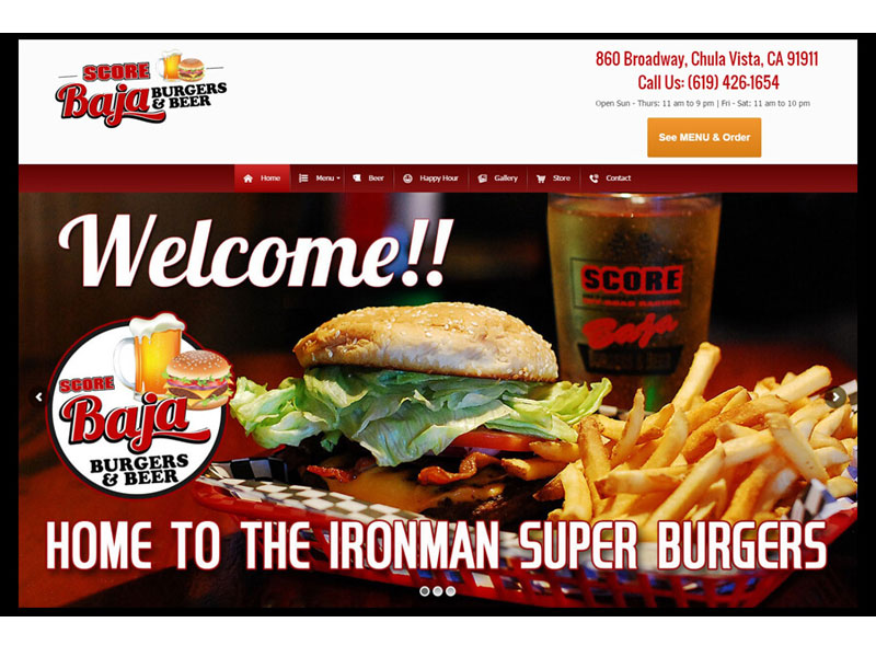 Website Design - Score Baja Burgers and Beer
