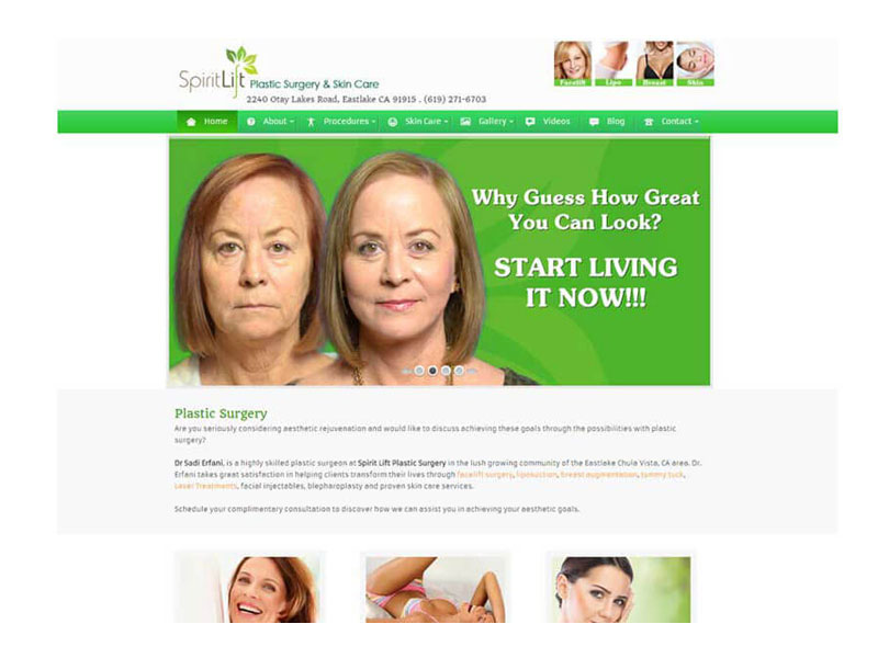 Spirit Lift Plastic Surgery - Website Design