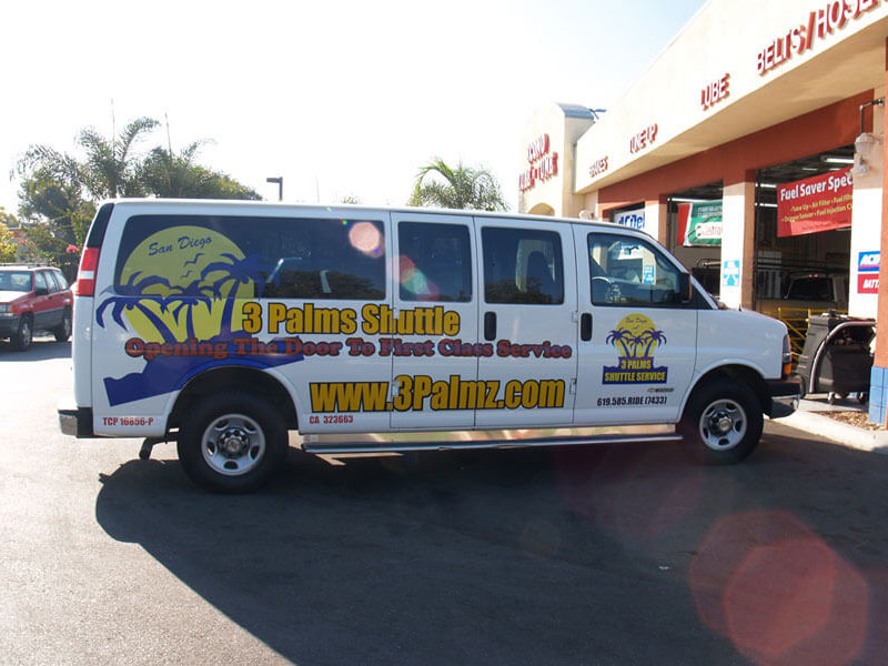 Vehicle Wrap - 3 Palms Shuttle - Passenger Side