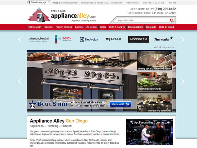 Appliance Alley - Website Design