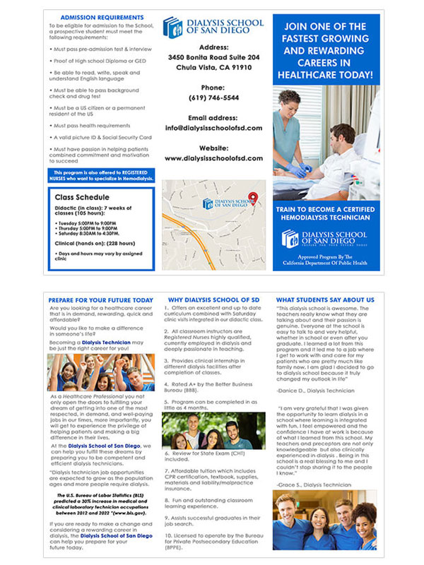 Brochure Design - Dialysis School of San Diego