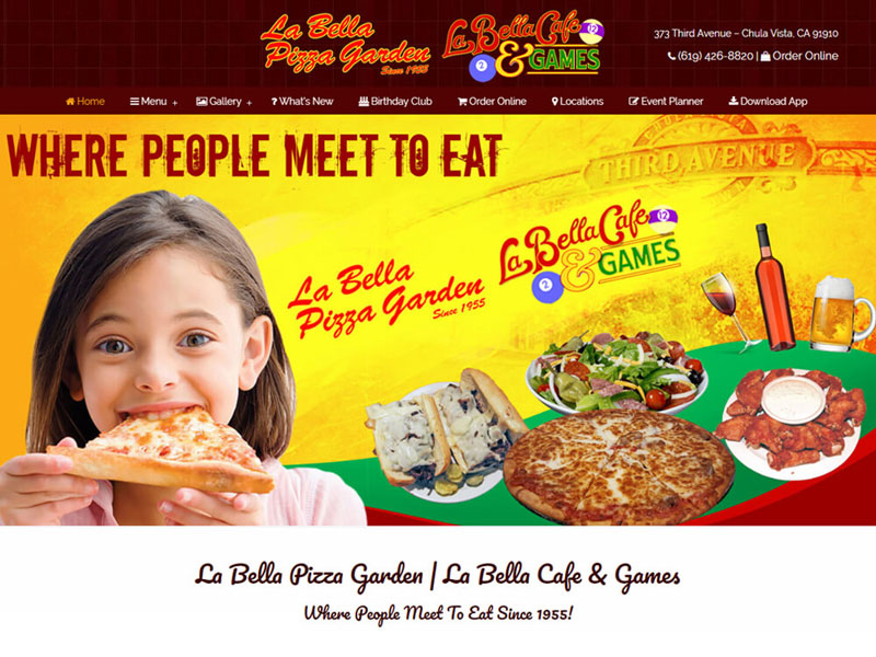 La Bella's - Web Design - Home Page
