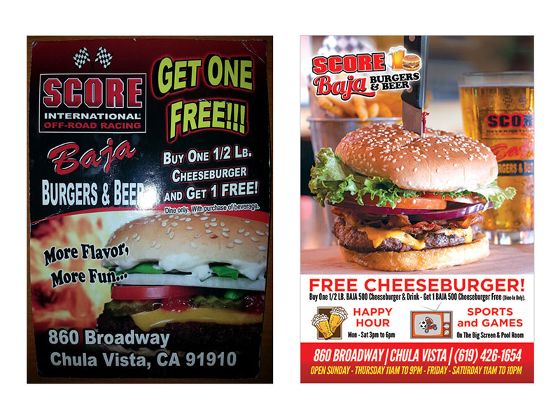 Postcard Flier - Score Baja Burgers and Beer