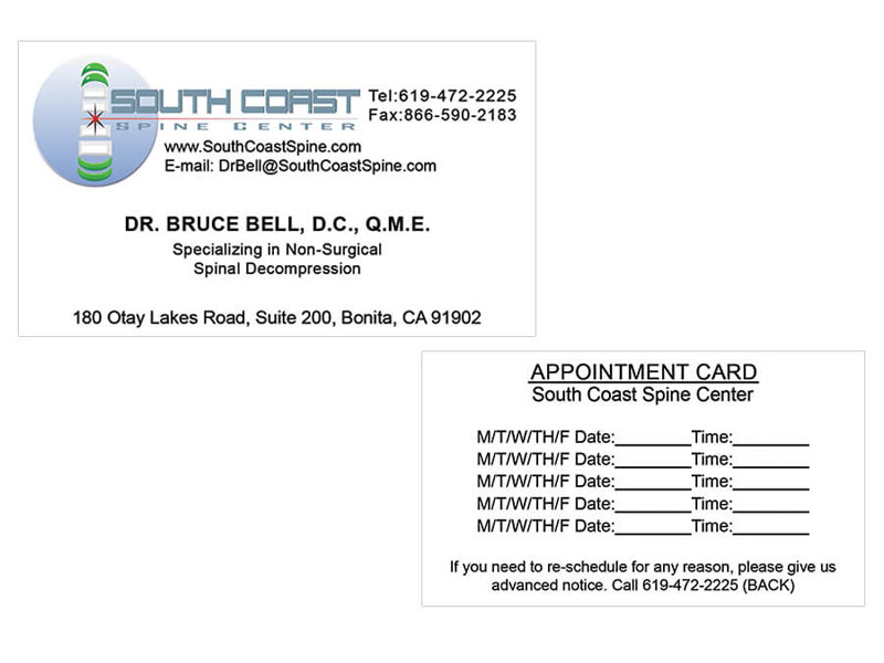 Business Card - South Coast Spine Center
